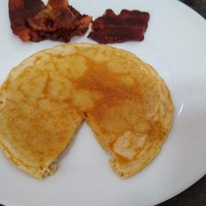 Gluten Free Oat Flour Pancakes served with bacon