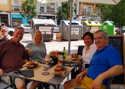 Kep, Erin, Celine and John enjoying a burger on International Hamburger Day 2021!