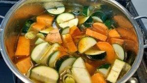 leek, zucchini, sweet potatoes in vegetable broth