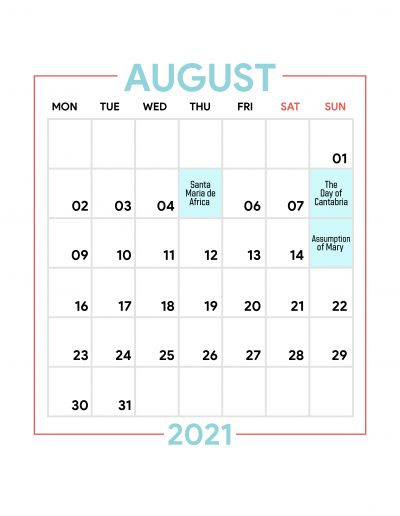 Holidays Observed in Spain - August 2021
