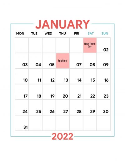 Holidays Observed in Spain - January 2022