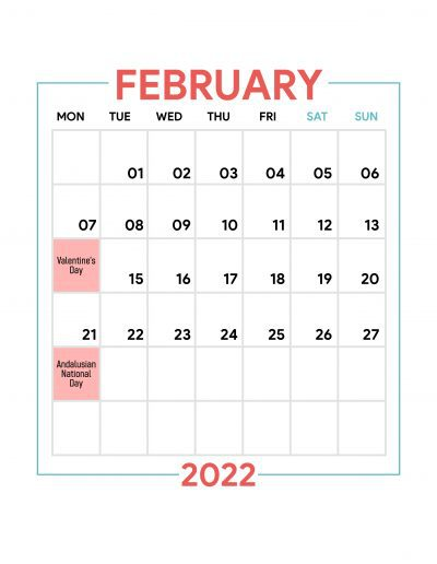 Holidays Observed in Spain - February 2022