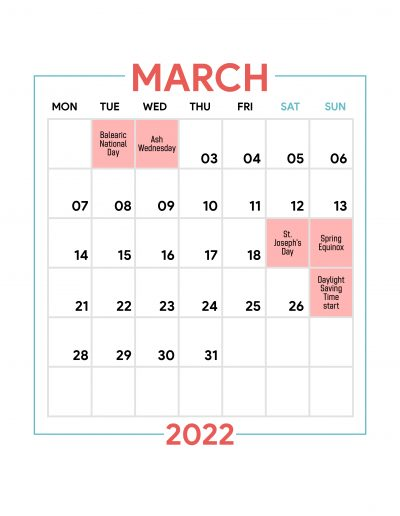 Holidays Observed in Spain - March 2022