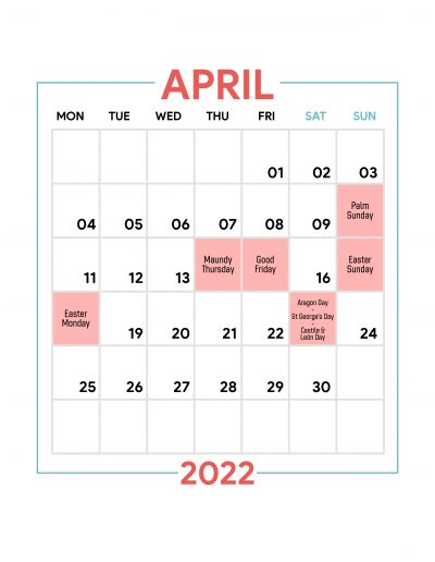Holidays Observed in Spain - April 2022
