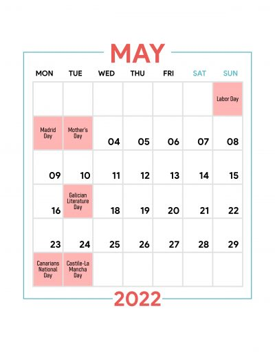 Holidays Observed in Spain - May 2022
