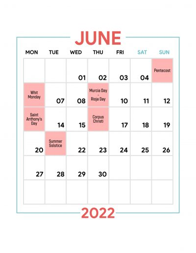 Holidays Observed in Spain - June 2022