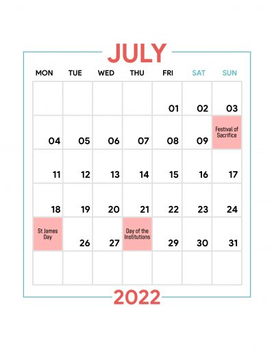 Holidays Observed in Spain - July 2022