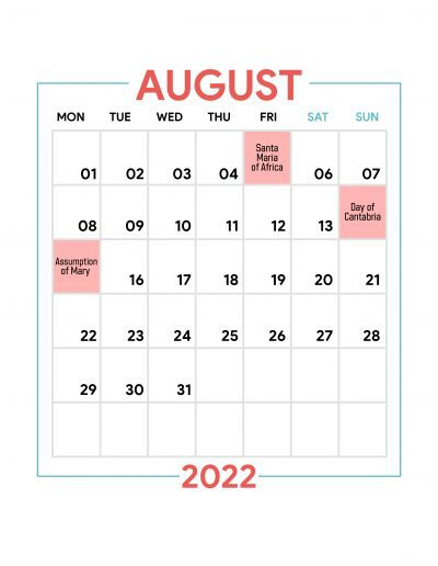 Holidays Observed in Spain - August 2022