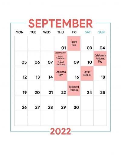 Holidays Observed in Spain - September 2022