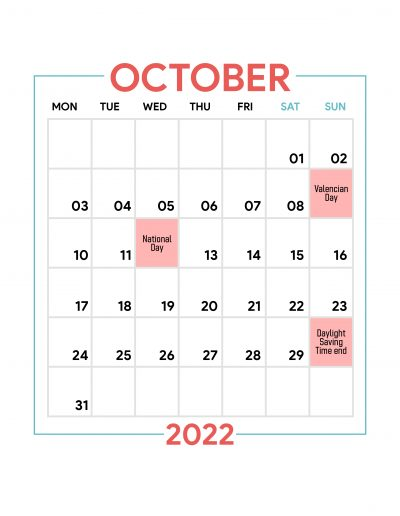 Holidays Observed in Spain - October 2022