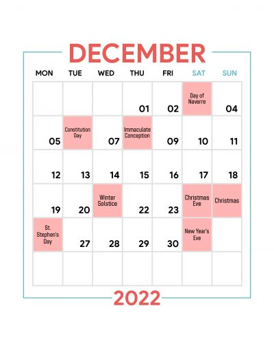 Holidays Observed in Spain - December 2022