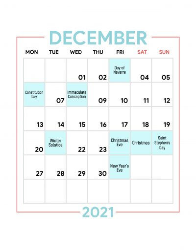 Holidays Observed in Spain - December 2021