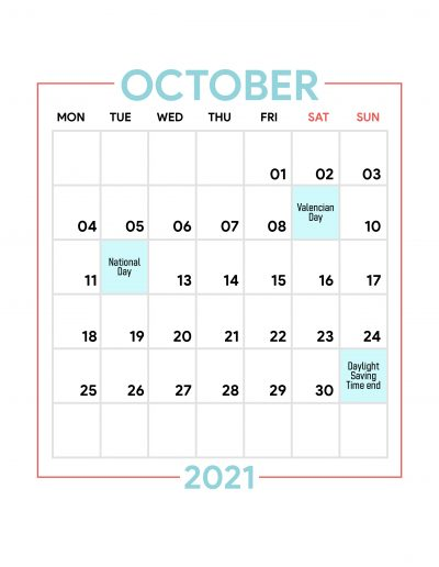 Holidays Observed in Spain - October 2021