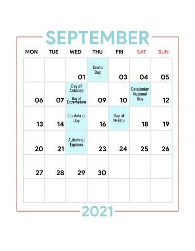 Holidays Observed in Spain - September 2021